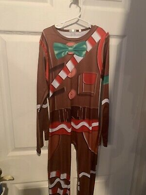 Gingerbread Man Costume Child (Fortnite Merry Marauder Gingerbread Man Costume Child Size Medium)