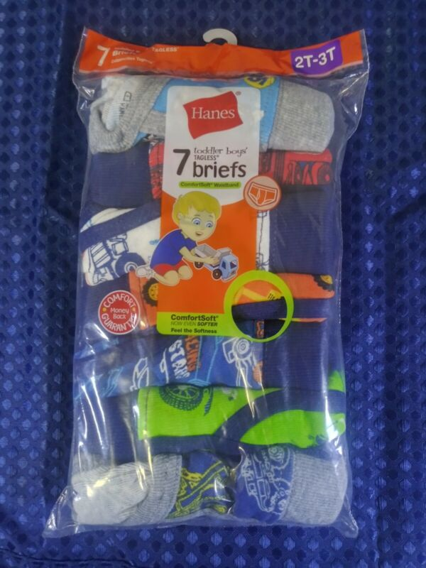 Hanes Toddler Boys 7pk Classic Tagless Briefs ComfortSoft Waistband Size 2T-3T