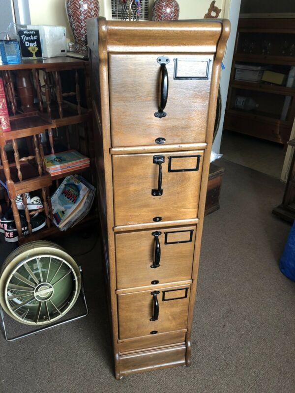 Antique Globe Wernicke 4 Drawer Oak File Cabinet / Small Size/ Rare One