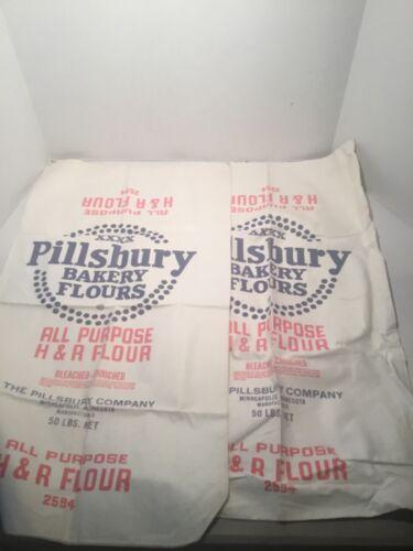 VINTAGE PILLSBURY BAKERS FLOUR BAG 50 LB NOS ADVERTISING EMPTY NEW 2 EACH, NOS
