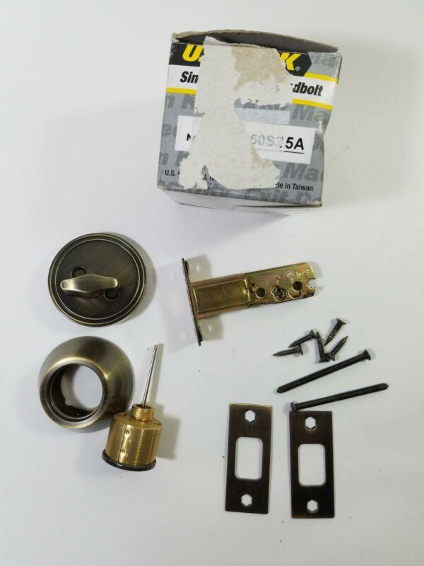 US Lock Single Cylinder Deadbolt 1650S15A Brushed/Antique Brass No Keys