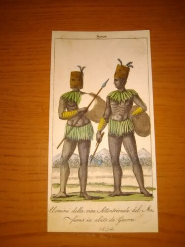 Engraving (1832) of Two Africans in War Dress (Stunning Colors)
