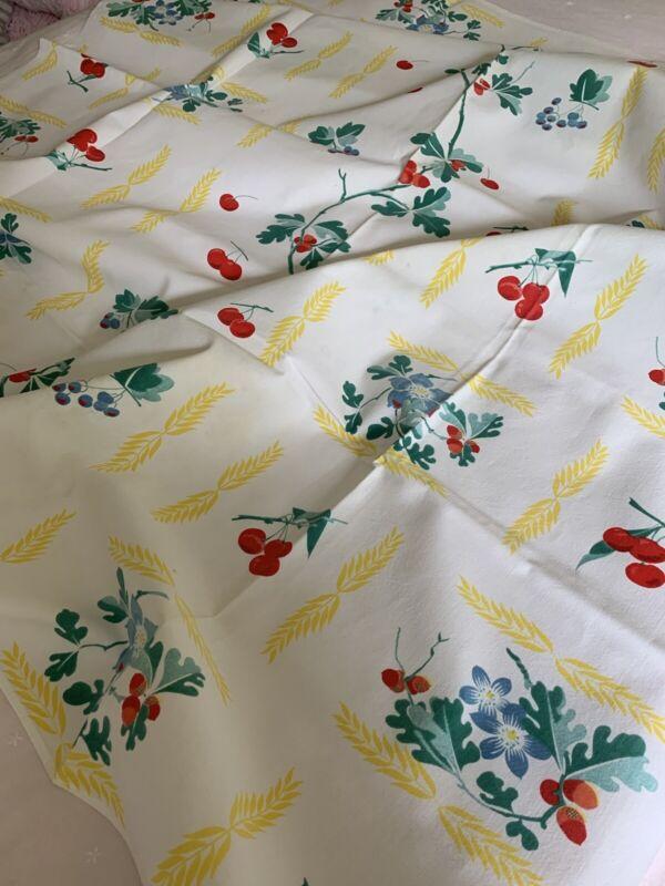 Gorgeous Vintage Hand Printed Cotton Floral Cherry TABLECLOTH ~ 54x67 Excellent