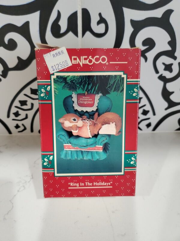 """VTG NOS Enesco """"Ring In The Holidays"""" Ornament Squirrel Merry Christmas Daughter"""