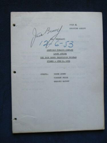 ORIGINAL SCRIPT for THE JACK BENNY SHOW - SIGNED by JACK BENNY - wi IRENE DUNNE