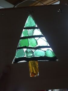 ChristmasTree Seaglass Suncatcher by Deb Humen