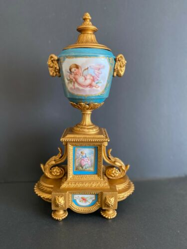 Antique Sevres Style Porcelain Bronze Urn.