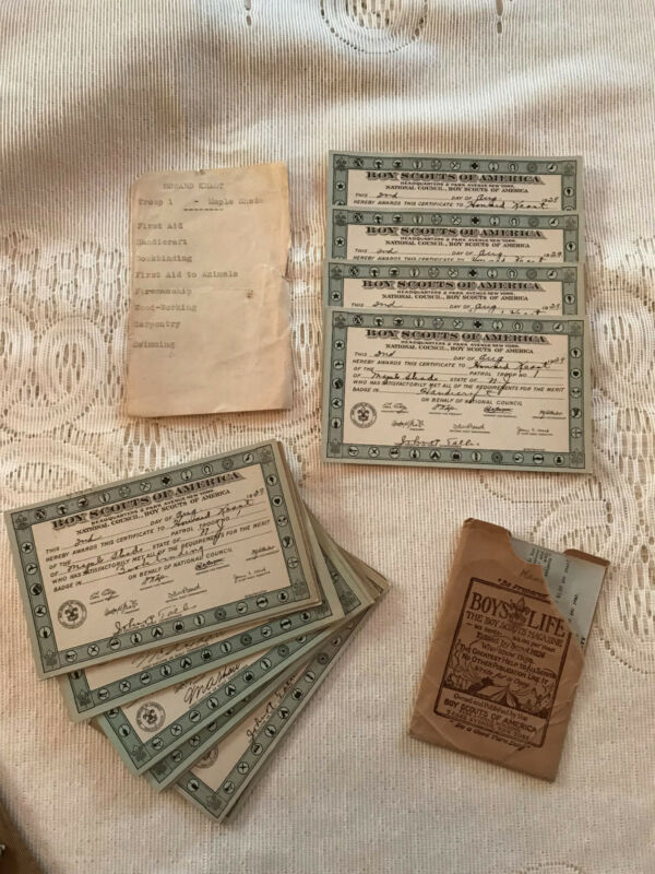 VINTAGE Lot (19) 1921-1931 BOY SCOUT Merit Badge Certificates Maple Shade, NJ