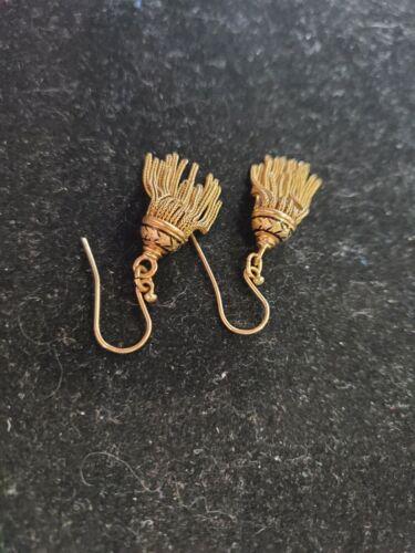 14k Gold Dainty Victorian / Edwardian Black Enamel Earrings