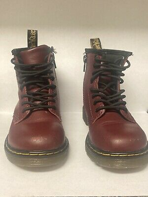 Dr. Martens Unisex Toddler 1460 Cherry Red Burgundy Laced Up Boots Size 10