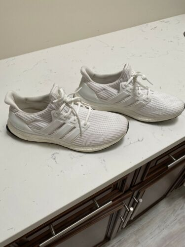 Used Mens Adidas UltraBoost Ultra Boost Running Shoe Triple White Size 11.5
