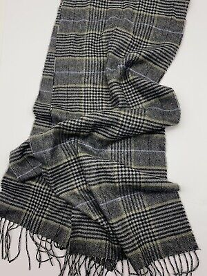"Vintage Scarf Styles -1920s to 1960s Vintage 100% Cashmere Scarf Yellow Gray & Black Plaid Germany Fringes. 12x62"" $16.99 AT vintagedancer.com"