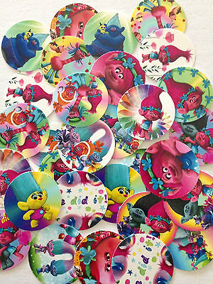 "60 Trolls 1"" inch Precut Bottle Cap Images for DIY Bows Scrapbooking FREE SHIP"