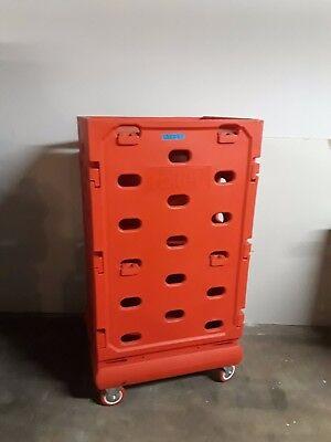 Red Plastic Rolling Cart On 4 Locking Wheels 58 X 31 X 26 12