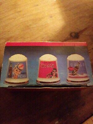 Vintage 1982 Coca-Cola Design Thimble Set 3-PC Porcelain MSR Imports Japan New
