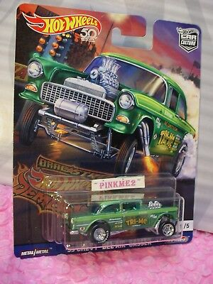 ''55 Chevy Bel Aire Gasser Verde 2018 Hot Wheels Drag Franja Demons Coche Culture