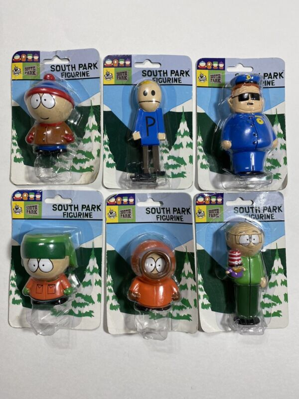 South Park Figurines 1999 Lot of 6 (Stan, Kyle, Kenny, + 3) New Sealed