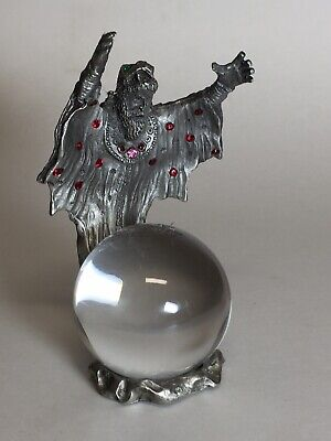 """Pewter Wizard Figurine with Crystal Ball 1997 Fantasy Crystals by Mobex 4"""""""