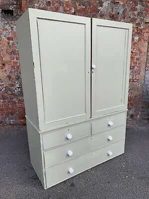 LARGE SHABBY CHIC PAINTED PASTEL GREEN ANTIQUE VICTORIAN BEDROOM PRESS - CABINET