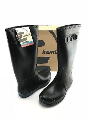 NEW KAMIK Olivia Women's Black Rubber Fashion Pull On Rain Boots US 9 Shoes B002