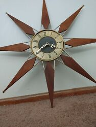Rare Working Vtg Mid Century Elgin Starburst 25 Inch Clock Battery Operated