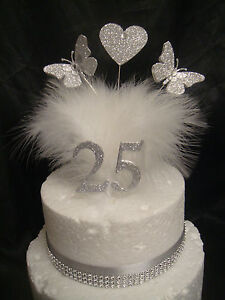 Glitter Heart Butterfly Ribbon Silver Gold Wedding Anniversary Cake Topper