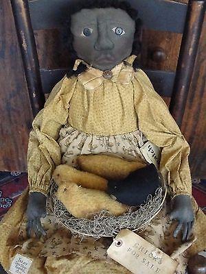 Vintage Primitive Black Cloth Doll Handmade OOAK by artist Joyce Tenay 2004