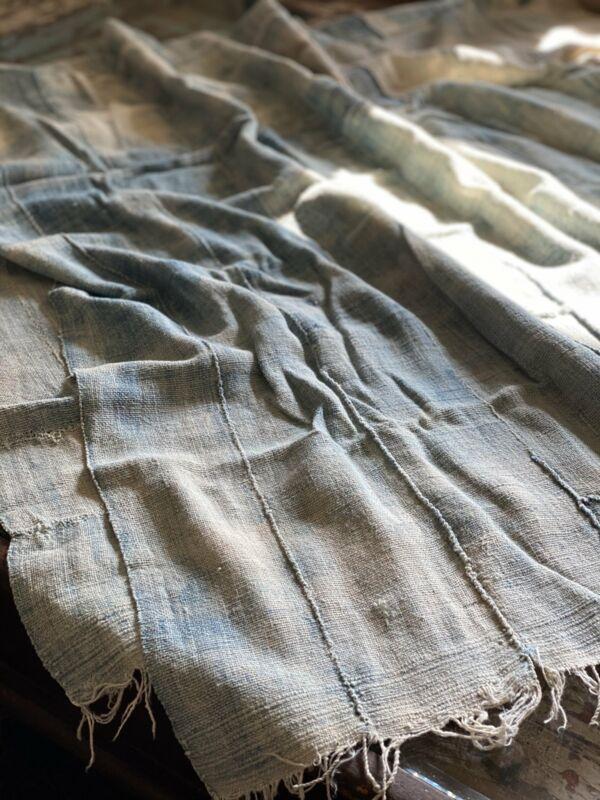 Vintage African Light Faded Indigo Soft Denim Mossi Mudcloth | No. 53