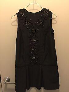 KARTA Black Sleeveless Crew Neck Beaded Detail Dress Sz XS
