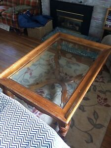 Coffee table glass top and hardwood