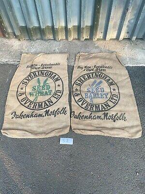 Pair of Vintage Farm Hessian Sacks Retro Collectable Bag Norfolk Barley Wheat.