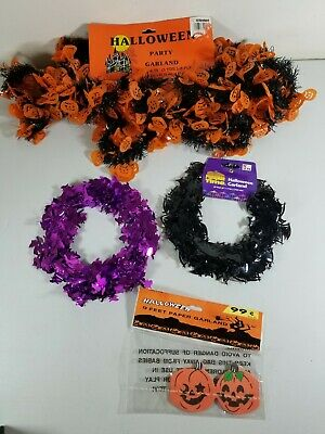 Vtg Halloween Garland Pumpkins Witchs Bats Paper And Platic Foil USA TAIWAN