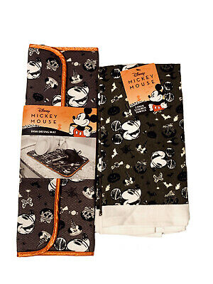 """Disney Mickey Mouse Halloween Drying Mat (16"""" x 18"""") & 2pk Kitchen Towels NEW"""