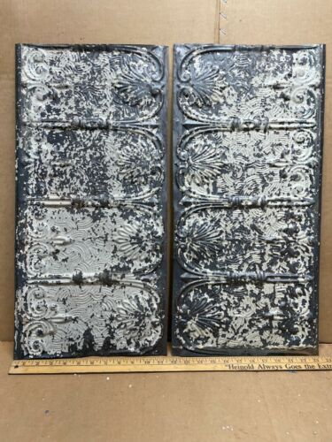 """2pc Lot of 24"""" by 11"""" Antique Ceiling Tin Metal Reclaimed Salvage Art Craft"""