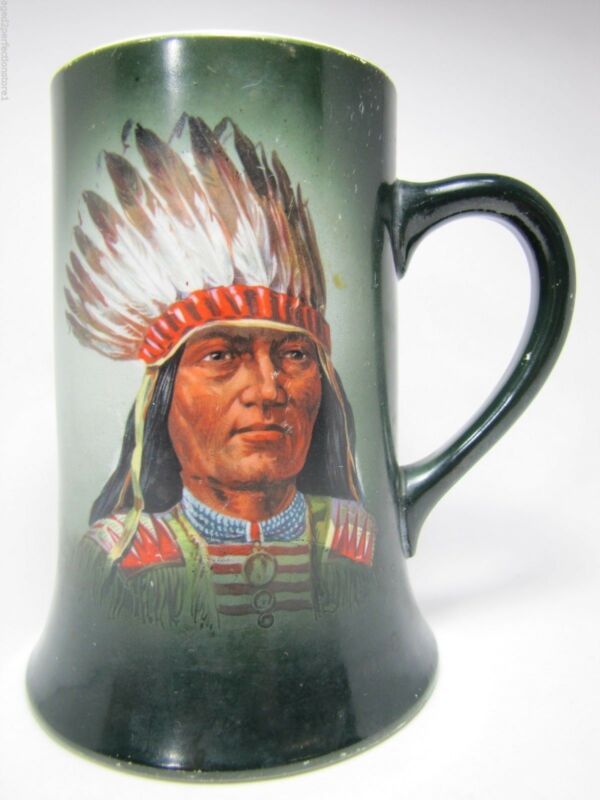 Antique Indian Chief Porcelain Mug toc 1900 Thos Maddock
