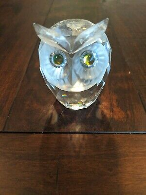 "SWAROVSKI CRYSTAL LARGE GREEN-EYED OWL - 2 5/8"" Beautiful!"