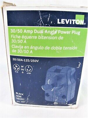 Leviton 3050 Amp 125250v Dual Angle Power Plug 287 Black