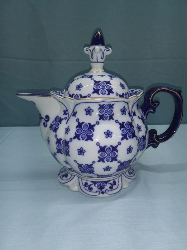 Bombay Sommerhill Cobalt Blue & White & Gold Quilt Pattern Teapot Porcelain NIB