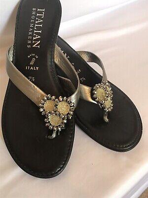 Italian Shoemakers Thong Sandal Size 7.5 Womens Black Shoes Silver Flower Jewels Black Flower Thong Sandal