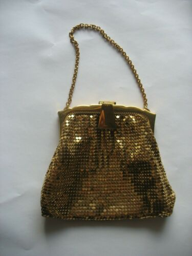 Vtg  1940s? WHITING & DAVIS Gold Mesh Evening Bag Purse USA