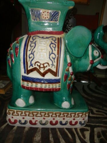 ANTIQUE HOLLYWOOD REGENCY ASIAN ELEPHANT POTTERY ART TABLE PLANT STAND STATUE
