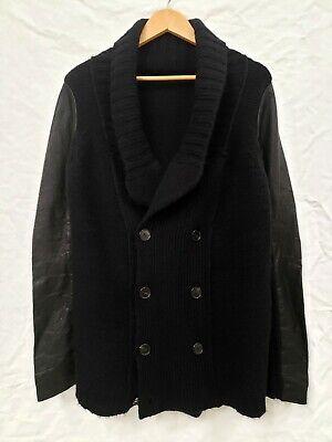 Isabel Benenato - Alpaca Blend Knit Cardigan w/ Leather Sleeves - size L