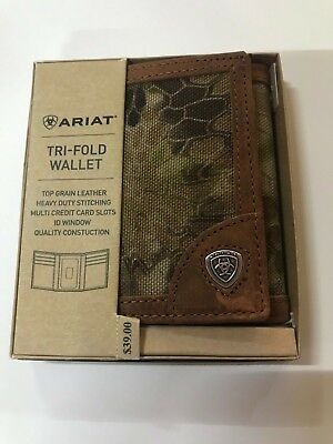 Top Fold Checkbook Wallet - Ariat Men's Tri Fold Camo Brown Short Wallet Top Grain Leather A35190156 NWT