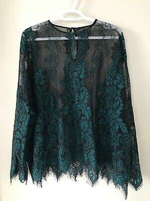 Zara Woman Black & Green Lace Top Blouse Size L