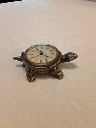Vintage 1960's Brass Turtle Alarm Clock missing shell