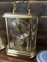 HERMLE Quartz MOONPHASE Anniversary Carriage Pendulum Mantel Clock