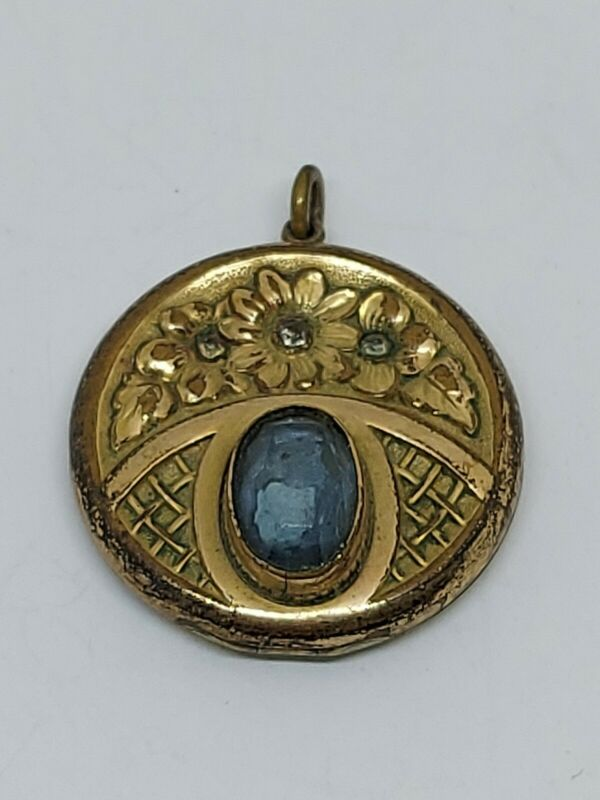 Vintage Antique Art Nouveau Ornate Floral Blue Glass Gold Tone Locket Pendant