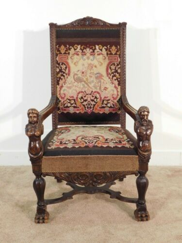 ANTIQUE 1870s / 80s Carved Figural Busts Walnut Great Arm Chair Tapestry