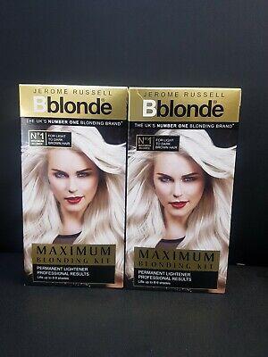 2x Jerome Russell Bblonde MAXIMUM BLONDING KIT BLONDE TO MEDIUM BROWN HAIR.