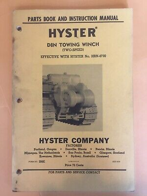 Hyster D8n 2 Speed Towing Winch For Cat D8 Tractor Parts Catalog Owner Manual